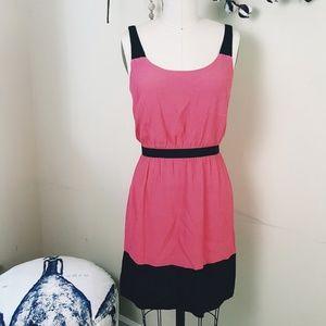 Loft // Summery Pink Color-block Mini Dress